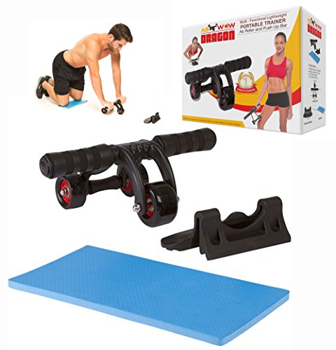 3-Wheel Ab Roller and Push Up Bar - AB WOW Dragon - Multi-functional Tri  Wheel Exercise Equipment and Lightweight Portable Abdominal Fitness Trainer  -